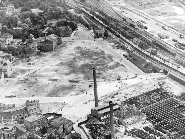 Luchtfoto station hengelo 1945
