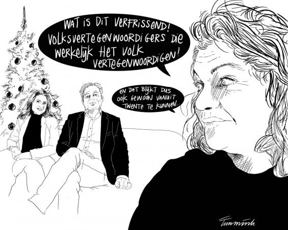 Cartoon Pieter Omtzigt Ayfer Koc