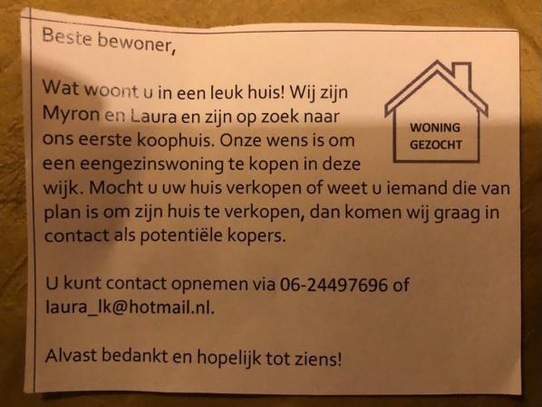 Huizenzoekers briefje