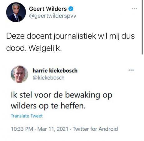 Tweet Kiekebosch Wilders print screen