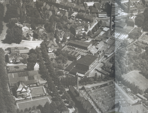 Luchtfoto Enschede detail De Nijverheid 1932 Fd H